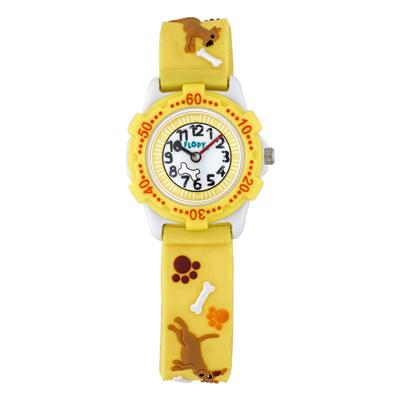 Reloj Flopy analogo, para Niño(a), tablero redondo color blanco, estilo arabigos, pulso plastico color amarillo