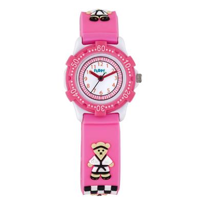 Reloj Flopy analogo, para Niño(a), tablero redondo color blanco, estilo arabigos, pulso plastico color rosa