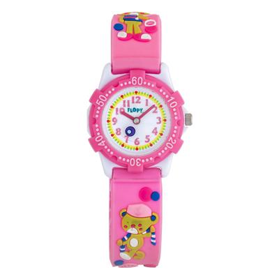 Reloj para Niño, tablero redondo, blanco, arabigo, analogo, pulso plastico rosado, cronografo
