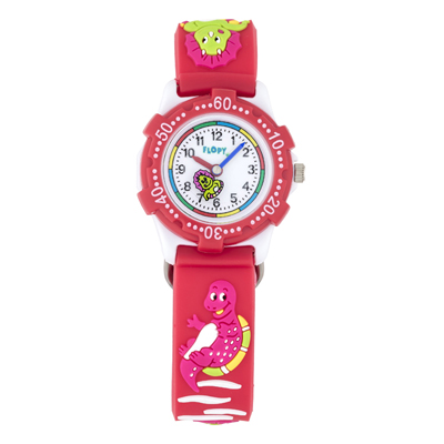 Reloj Flopy analogo, para Niño(a), tablero redondo color blanco, estilo arabigos, pulso plastico color rojo