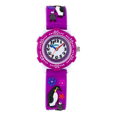 Reloj para Niño, tablero redondo, blanco, arabigo, analogo, pulso plastico morado