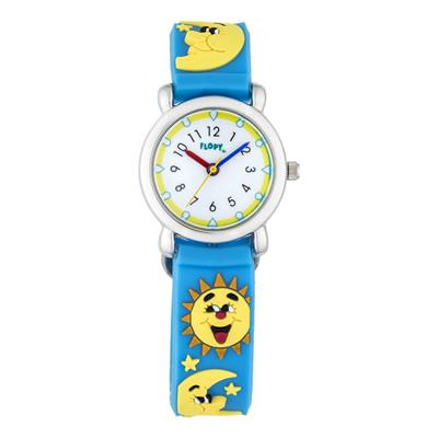 Reloj Flopy analogo, para Niño(a), tablero redondo color blanco, estilo arabigos, pulso plastico color azul