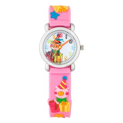 Reloj para Niño, tablero redondo, blanco, arabigo, analogo, pulso plastico rosado