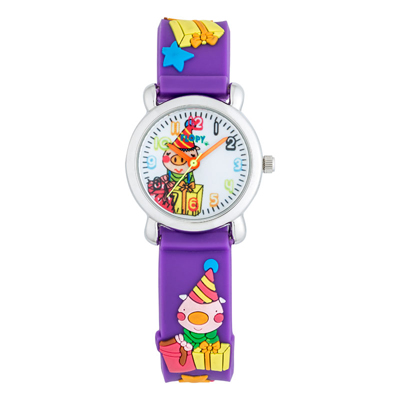 Reloj para Niño, tablero redondo, blanco, arabigo, analogo, pulso plastico lila