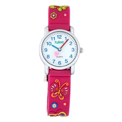 Reloj para Niño, tablero redondo, blanco, arabigo, analogo, pulso silicona fucsia