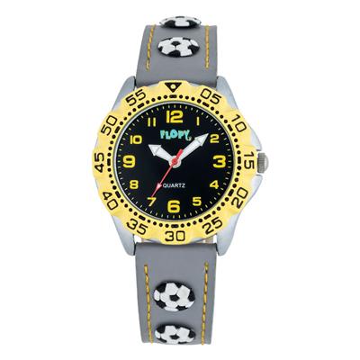 Reloj para Niño, tablero redondo, negro, arabigo, analogo, pulso cuero sintetico gris