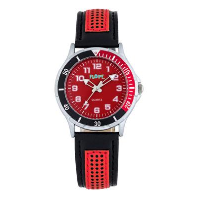 Reloj Flopy analogo, para Niño(a), tablero redondo color negro, estilo index + arabigo, pulso cuero sintetico color negro