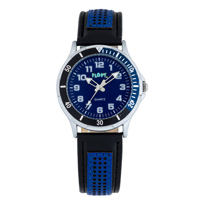 Reloj para Niño, tablero redondo, azul, arabigo, analogo, pulso cuero sintetico negro