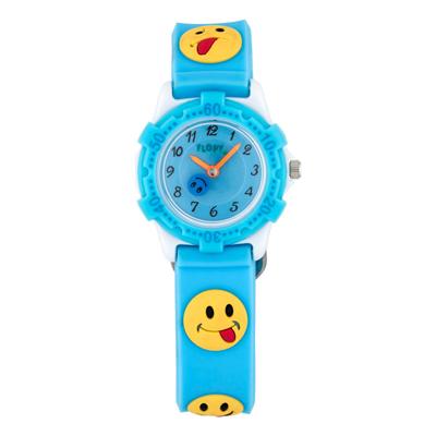 Reloj Flopy analogo, para Niño(a), tablero redondo color azul, estilo arabigos, pulso plastico color azul