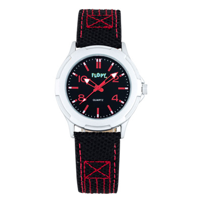 Reloj Flopy analogo, para Niño(a), tablero redondo color negro, estilo arabigos, pulso cuero sintetico color negro
