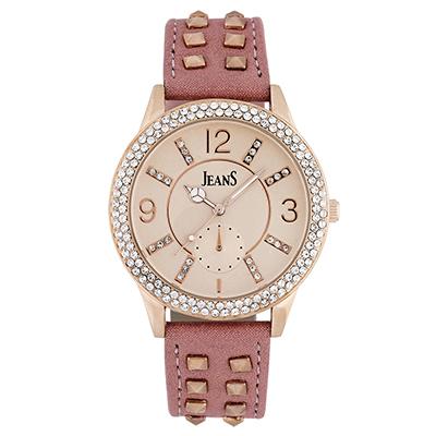 Reloj para Dama, tablero redondo, rosa, index + arabigo, analogo, pulso cuero sintetico rosado