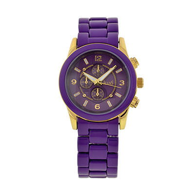 Reloj para Dama, tablero redondo, morado, index + arabigo, analogo, pulso metalico metalico