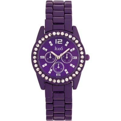 Reloj Jeans analogo, para Dama, tablero redondo color morado, estilo index + arabigo, pulso metalico color plateado