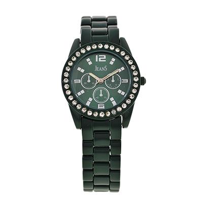 Reloj Jeans analogo, para Dama, tablero redondo color verde, estilo index + arabigo, pulso metalico color plateado