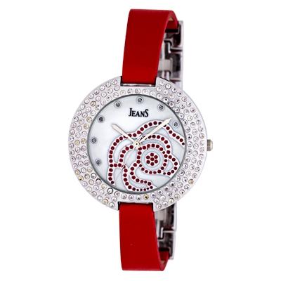 Reloj Jeans analogo, para Dama, tablero redondo color blanco, estilo puntos, pulso metalico color plateado