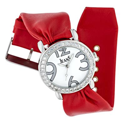 Reloj Jeans analogo, para Dama, tablero redondo color blanco, estilo arabigos, pulso cuero sintetico color rojo