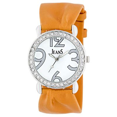 Reloj Jeans analogo, para Dama, tablero redondo color blanco, estilo arabigos, pulso cuero sintetico color naranja