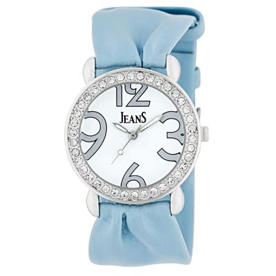 Reloj Jeans analogo, para Dama, tablero redondo color blanco, estilo arabigos, pulso cuero sintetico color azul
