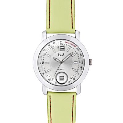 Reloj Jeans analogo, para Hombre, tablero redondo color plateado, estilo index + arabigo, pulso cuero color verde
