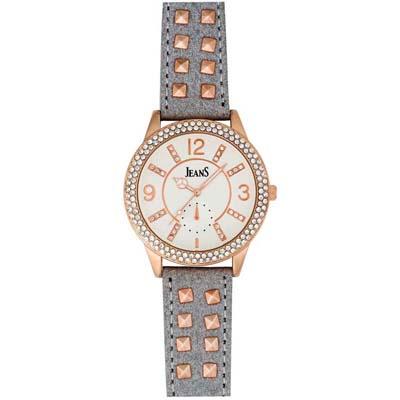 Reloj Jeans analogo, para Dama, tablero redondo color plateado, estilo index + arabigo, pulso cuero sintetico color gris