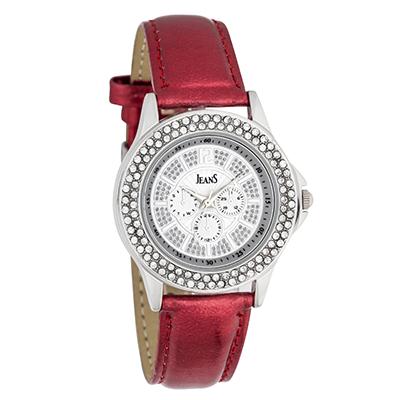 Reloj Jeans analogo, para Dama, tablero redondo color plateado, estilo index + arabigo, pulso cuero sintetico color rojo