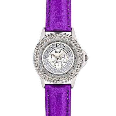 Reloj Jeans analogo, para Dama, tablero redondo color plateado, estilo index + arabigo, pulso cuero sintetico color morado