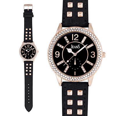 Reloj Jeans analogo, para Dama, tablero redondo color negro, estilo index + arabigo, pulso cuero sintetico color negro