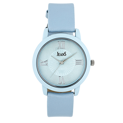 Reloj Jeans analogo, para Dama, tablero redondo color azul, estilo romanos, pulso cuero sintetico color azul