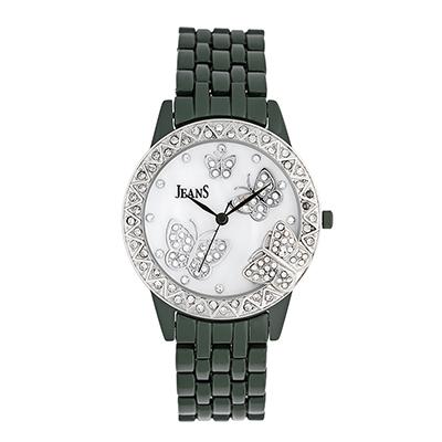 Reloj para Dama, tablero redondo, madreperla, puntos, analogo, pulso metalico metalico