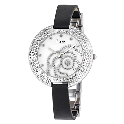 Reloj Jeans analogo, para Dama, tablero redondo color gris, estilo puntos, pulso cuero color negro