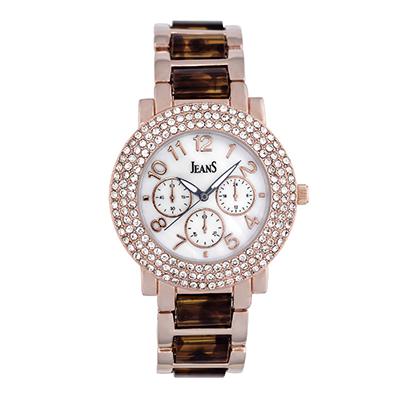 Reloj para Dama, tablero redondo, madreperla, arabigo, analogo, pulso metalico metalico