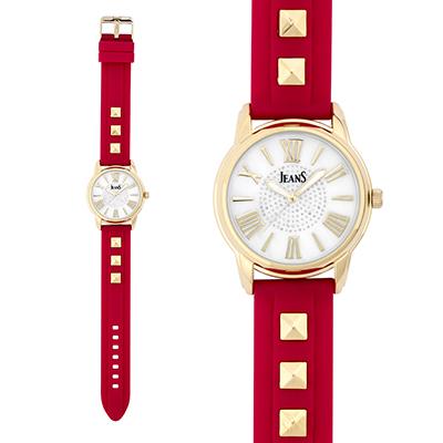Reloj para Dama, tablero redondo, madreperla, index + romano, analogo, pulso silicona rojo