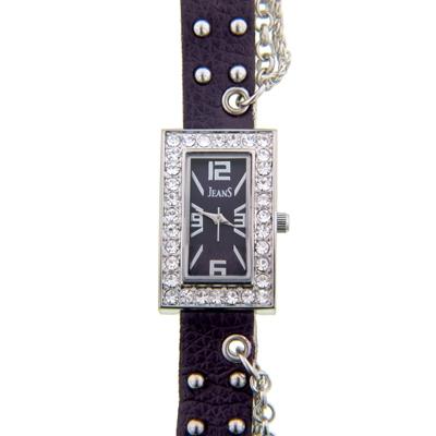 Reloj para Dama, tablero rectangular, morado, index + arabigo, analogo, pulso cuero sintetico morado