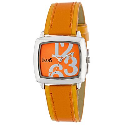 Reloj para Dama, tablero cuadrado, naranja, arabigo, analogo, pulso cuero sintetico morado