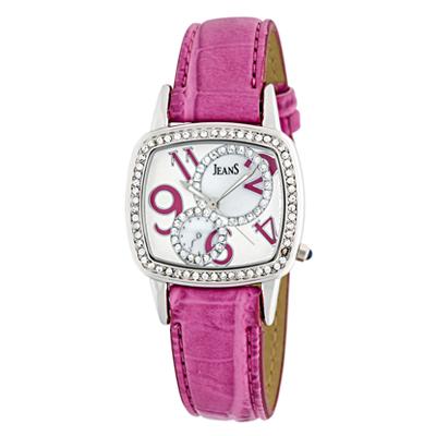 Reloj para Dama, tablero cuadrado, arabigo, analogo, pulso cuero blanco