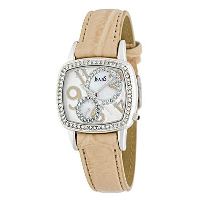 Reloj para Dama, tablero cuadrado, madreperla, arabigo, analogo, pulso cuero sintetico beige