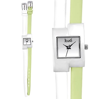 Reloj para Dama, tablero cuadrado, silver, sin numeros, analogo, pulso cuero sintetico colores
