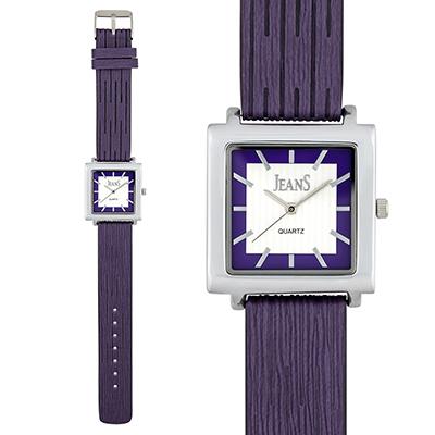 Reloj para Dama, tablero cuadrado, silver, index, analogo, pulso cuero sintetico morado