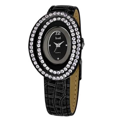 Reloj para Dama, tablero ovalado, negro, puntos, analogo, pulso cuero negro