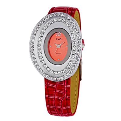 Reloj para Dama, tablero ovalado, rojo, puntos + arabigo, analogo, pulso cuero rojo