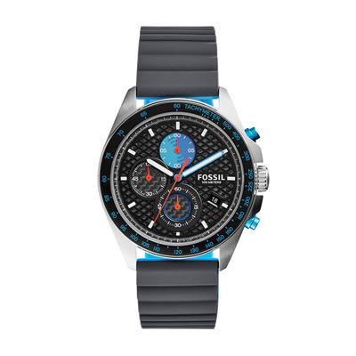 Reloj Fossil analogo, para Hombre, tablero redondo colores negro, azul y naranja, estilo index, pulso silicona color negro, calendario, cronografo