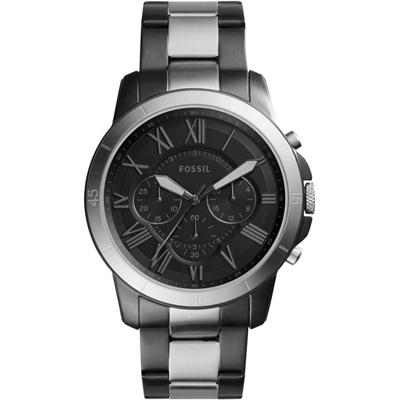 Reloj Fossil analogo, para Hombre, tablero redondo colores negro y gris, estilo romanos, pulso metalico colores negro y plateado, calendario, cronografo