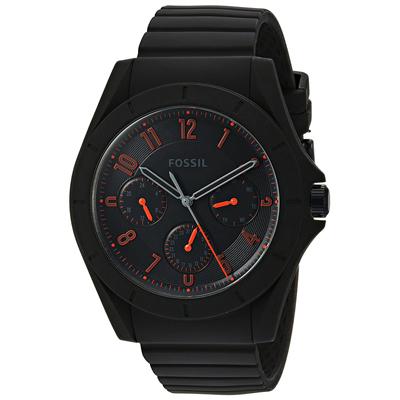 Reloj Fossil analogo, para Hombre, tablero redondo colores negro y rojo, estilo arabigos, pulso silicona color negro, calendario