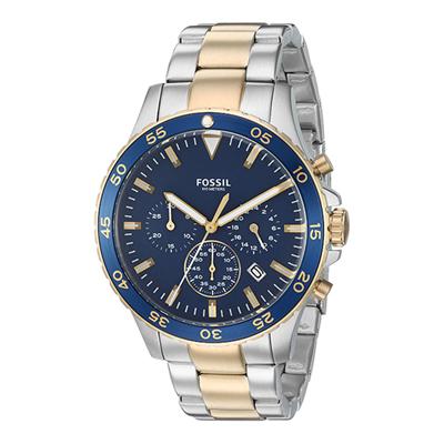 Reloj Fossil analogo, para Hombre, tablero redondo colores azul y dorado, estilo index, pulso metalico colores plateado y dorado, calendario, cronografo