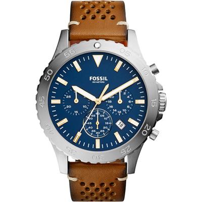 Reloj Fossil analogo, para Hombre, tablero redondo colores azul y dorado, estilo index, pulso cuero color café, calendario, cronografo