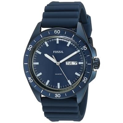 Reloj Fossil analogo, para Hombre, tablero redondo color azul, estilo index, pulso silicona color azul, calendario