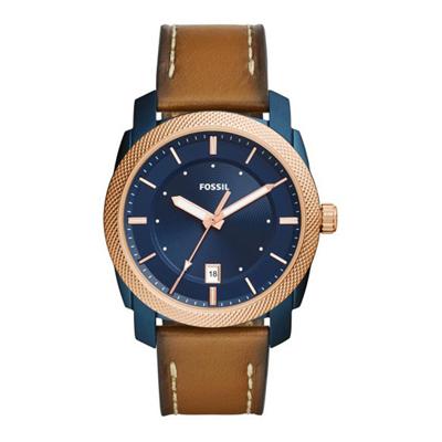 Reloj para Hombre, tablero redondo, azul, index, analogo, pulso cuero cafe, calendario