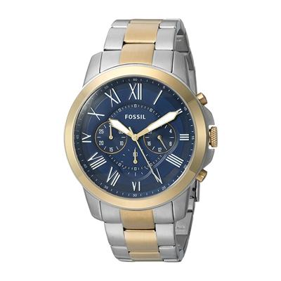 Reloj Fossil analogo, para Hombre, tablero redondo, pulso metalico, calendario
