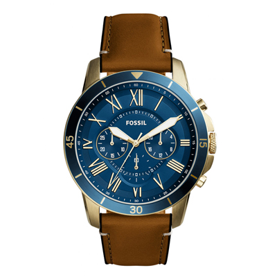 Reloj Fossil analogo, para Hombre, tablero redondo, pulso cuero, calendario