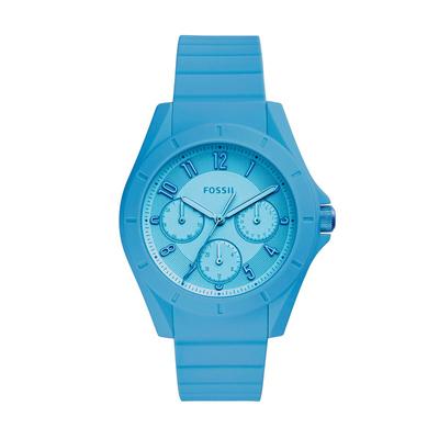 Reloj Fossil analogo, para Dama, tablero redondo color azul, estilo arabigos, pulso silicona color azul, calendario